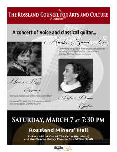 The Rossland Council for Arts and Culture presents An evening of love songs in Rossland @ Rossland Miner's Hall