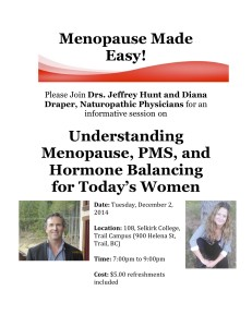 Drs. Jeffrey Hunt and Diana Draper, Naturopathic Physicians  @ Selkirk College, Trail Campus (Room 108) | Trail | British Columbia | Canada