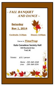 Fall Banquet and Dance @ Italo Canadese Society Hall | Trail | British Columbia | Canada