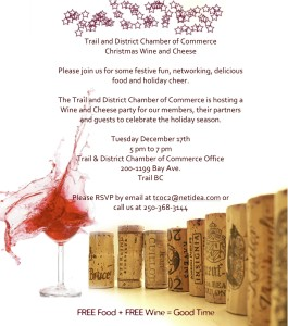 Annual Christmas Wine & Cheese  @ The Trail Chamber Office | Trail | British Columbia | Canada